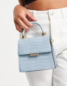 Голубая сумка через плечо с эффектом крокодиловой кожи и ручкой сверху ALDO Triewiel-Голубой