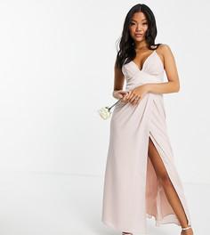 Нежно-розовое платье макси для подружки невесты на бретельках, с атласной кокеткой уголком на талии и пуговицами на спинке ASOS DESIGN Petite Bridesmaid-Розовый цвет