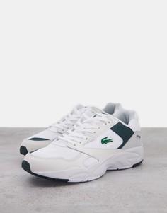 Бело-зеленые низкие кроссовки Lacoste Storm 96-Белый