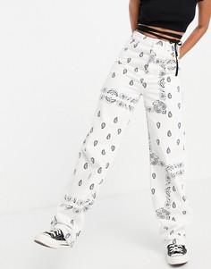 Oversized-джинсы в винтажном стиле с принтом пейсли Topshop-Multi