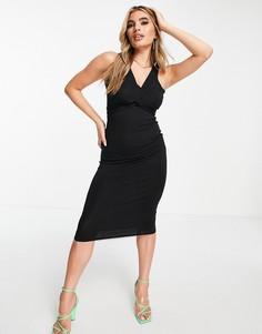 Черное платье миди с оборачивающейся вокруг талии завязкой ASOS DESIGN-Черный цвет