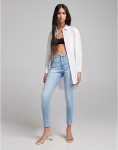 Синие винтажные джинсы скинни с завышенной талией Bershka-Голубой
