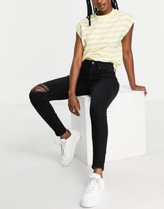 Черные зауженные джинсы с высокой талией и рваной отделкой Stradivarius-Черный цвет