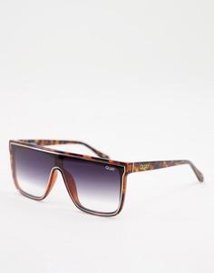Солнцезащитные очки унисекс в черепаховой оправе с прямой верхней планкой Quay X Maluma Nightfall-Коричневый цвет
