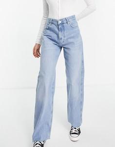Голубые свободные джинсы с необработанным краем Bershka-Голубой