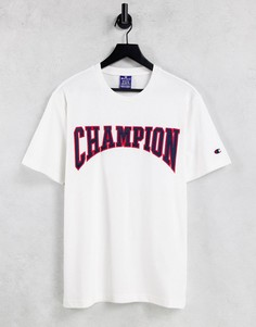 Белая футболка с крупным логотипом в университетском стиле Champion-Белый
