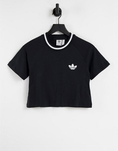Черная укороченная футболка adidas Originals-Черный цвет