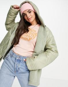 Стеганая куртка цвета хаки с капюшоном и подкладкой из искуственного меха ASOS DESIGN-Зеленый цвет