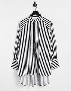 Длинная рубашка из органического хлопка в черную полоску Selected Femme-Разноцветный