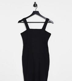 Черное облегающее платье в рубчик с квадратным вырезом ASOS DESIGN Petite-Черный цвет