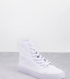 Белые высокие кроссовки из плотной ткани для широкой стопы ASOS DESIGN Wide Fit Daz-Белый