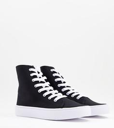Черные высокие кроссовки из парусины для широкой стопы ASOS DESIGN Daz-Черный цвет