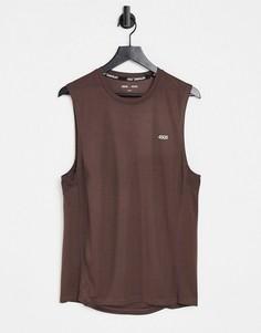 Коричневая спортивная футболка без рукавов из быстросохнущей ткани с логотипом ASOS 4505 Icon-Коричневый цвет
