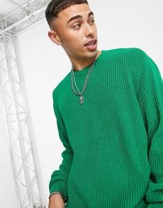 Зеленый вязаный джемпер в рубчик в стиле oversized ASOS DESIGN-Зеленый цвет