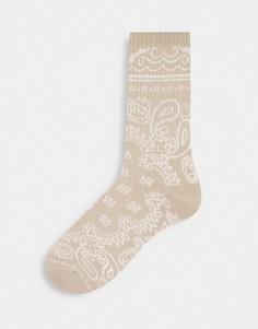 Светло-бежевые носки средней длины с принтом пейсли Topman-Светло-бежевый цвет