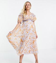 Плиссированное платье миди со сборками, цветочным принтом и пышными рукавами ASOS DESIGN Maternity-Разноцветный