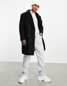 Черное пальто из смесовой шерсти с подкладкой из искусственного меха ASOS DESIGN-Черный цвет