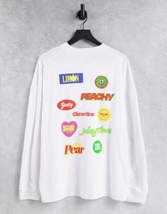 Белая футболка в стиле oversized с длинными рукавами и нашивками-принтом спереди и сзади Topman-Белый