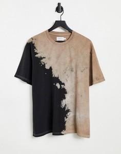 Черно-коричневая oversized-футболка с принтом тай-дай от комплекта Topman-Разноцветный