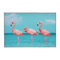 Коврик для ванной влаговпитывающий Vortex Velur Spa Фламинго голубой с розовым 60х90 см