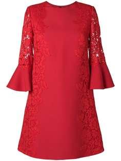 Valentino кружевное платье трапеция с цветочным узором