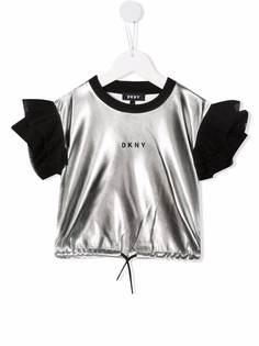 Dkny Kids футболка с оборками и эффектом металлик