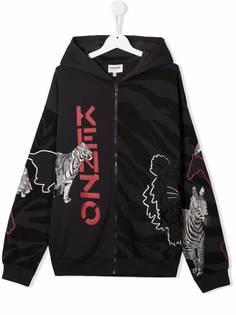 Kenzo Kids куртка с капюшоном и анималистичным принтом