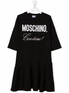 Moschino Kids платье-футболка со стразами