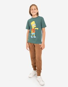 Коричневые спортивные брюки с принтом Run для мальчика Gloria Jeans