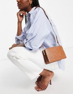 Светло-коричневая сумка на плечо под крокодиловую кожу Truffle Collection-Коричневый цвет