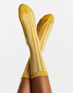 Желтые носки в полоску Selected Femme-Разноцветный