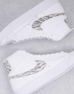 Кроссовки белого цвета с зебровым принтом Nike Blazer Mid 77-Белый