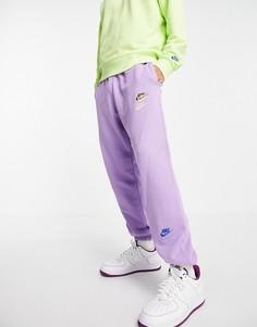 Сиреневые джоггеры в стиле casual с манжетами и логотипами разных цветов Nike Essential fleece+-Фиолетовый цвет