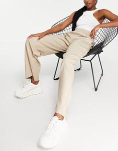 Широкие брюки из переработанных материалов c эластичным поясом и стрелками спереди Selected Femme-Белый