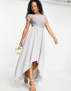 Серое платье с вышивкой пайетками ручной работы и асимметричной нижней кромкой Little Mistress Вridesmaid-Серый
