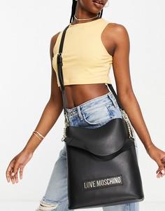 Черная сумка-мешок с логотипом Love Moschino-Черный цвет