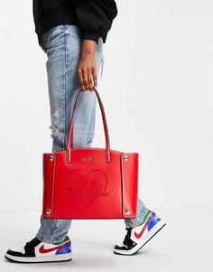 Красная сумка-тоут с логотипом-надписью Love Moschino-Красный