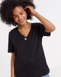 Черная футболка с короткими рукавами и V-образным вырезом из органического хлопка Selected Femme-Черный цвет