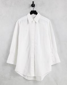 Белая рубашка из органического хлопка с широкими манжетами Selected Femme-Белый