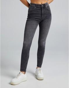 Серые джинсы скинни с завышенной талией Bershka-Серый