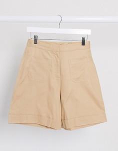 Бежевые широкие шорты из органического хлопка Selected Femme-Коричневый