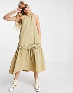 Платье мини без рукавов с присборенной юбкой и заниженной талией бежевого цвета Urban Revivo-Зеленый цвет