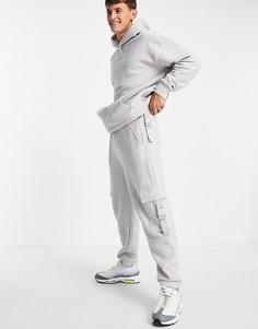 Серые джоггеры с карманами карго на плетеных ремешках от комплекта Topman-Серый