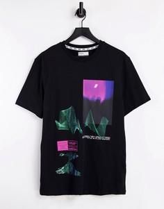Черная футболка с фольгированным принтом Bershka-Черный цвет