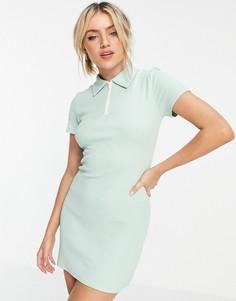 Зеленое платье мини в рубчик с воротником-поло Urban Revivo-Зеленый цвет