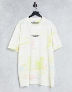 Белая футболка классического кроя с мраморным эффектом River Island Big & Tall-Белый