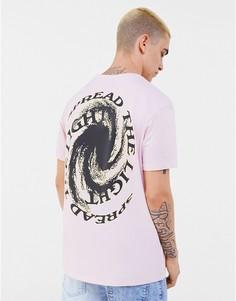 Розовая футболка с принтом на спине Bershka-Розовый цвет