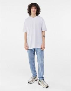 Белая длинная футболка Bershka-Белый