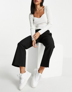 Укороченные расклешенные брюки черного цвета Selected Fada-Черный цвет