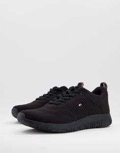 Черные трикотажные кроссовки для бега с маленьким логотипом в виде флага Tommy Hilfiger-Черный цвет